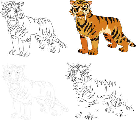 saber tooth: Cartoon saber-toothed tiger. Dot to dot educational game for kids. Vector illustration