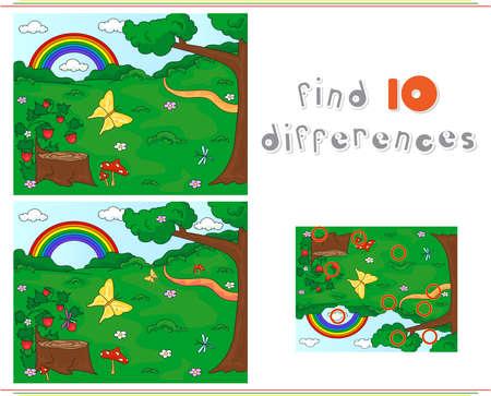 그루터기, 딸기, 나비, 나무, 무지개와 꽃과 숲 숲 사이의 빈 터. 아이들을위한 교육 게임 : 열 차이점을 찾을 수 있습니다. 벡터 일러스트 레이 션