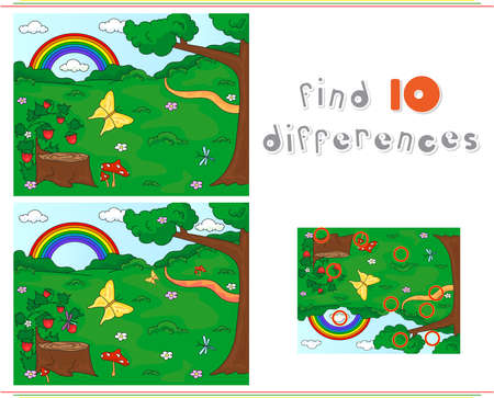 Forest glade with a stub, strawberries, butterfly, trees, rainbow and flowers. Educational game for kids: find ten differences. Vector illustration Illustration