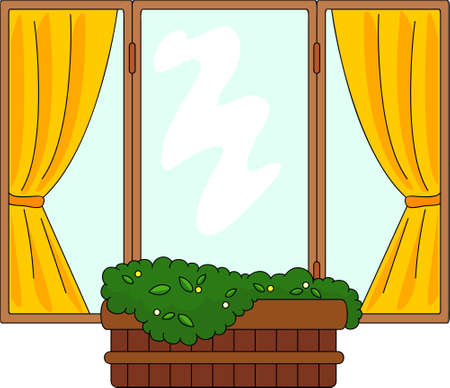 flower pots: Window with flower pots and curtains. Vector illustration