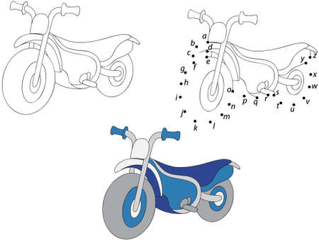 iron fun: Cartoon motorcycle. Vector illustration. Coloring and dot to dot educational game for kids Illustration