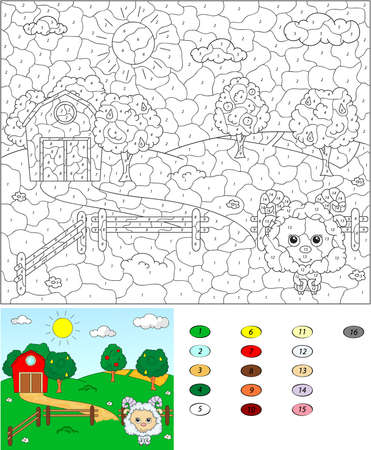 Color by number educational game for kids. Rural landscape with sheep, barn, corrals, fruit-trees and fields. Vector illustration for schoolchild and preschool