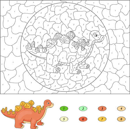 stegosaurus: Color by number educational game for kids. Cartoon stegosaurus. Vector illustration for schoolchild and preschool Illustration