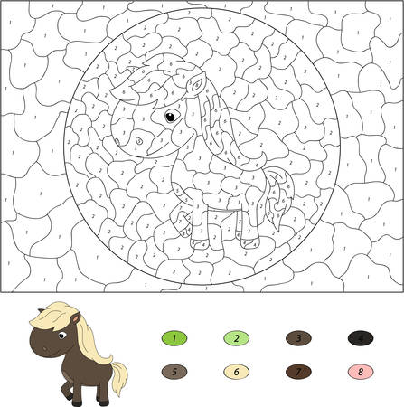 rural areas: Color by number educational game for kids. Funny cartoon horse. Vector illustration for schoolchild and preschool