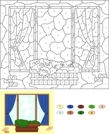 flower pots: Color by number educational game for kids. Window with flower pots and curtains. Vector illustration for schoolchild and preschool