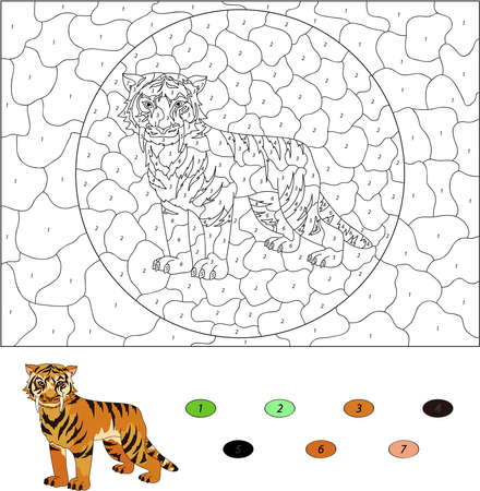 saber tooth: Color by number educational game for kids. Cartoon saber-toothed tiger. Vector illustration for schoolchild and preschool
