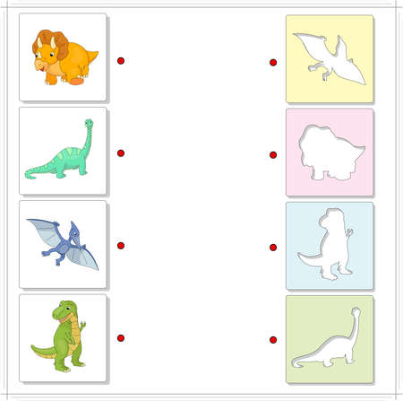 raptorial: Set of diplodocus, tyrannosaur, pterodactyl and triceratops. Educational game for kids. Choose the correct silhouettes on the opposite side and connect the points