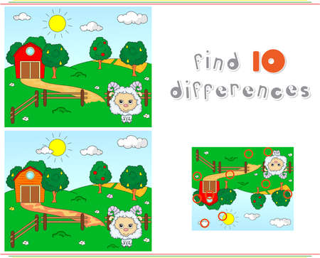 spot the difference: Rural landscape with barn, corrals, fruit trees and sheep. Educational game for kids: find ten differences. Vector illustration