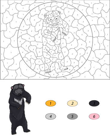 asiatic: Color by number educational game for kids. Cartoon Asiatic black bear. Vector illustration for schoolchild and preschool
