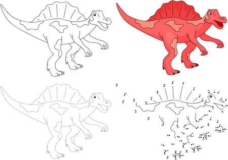 spinosaurus: Cartoon Spinosaurus. Dot to dot educational game for kids. Vector illustration Illustration