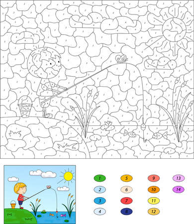 fishing area: Color by number educational game for kids. Boy fisherman with fishing rod on the lake. Vector illustration for schoolchild and preschool Illustration