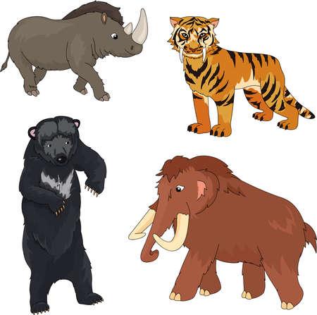 Set van mammoet, prehistorische beer, sabeltandtijger en neushoorn. vector illustratie