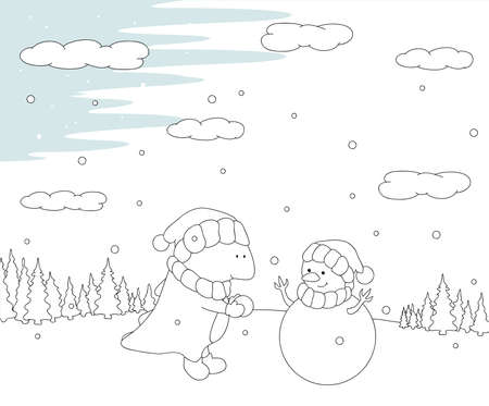 christmas dragon: Cute chubby dragon sculpts snowman in a snowy forest. Christmas postcard. Vector illustration. Coloring book