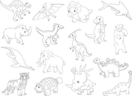 tyrannosaur: Palaeosaurus, styracosaurus, spinosaurus, ichthyosaur, diplodocus, tyrannosaur, pterodactyl, triceratops, pliosaur, stegosaurus, ankylosaurus, guanlong, mammoth, bear, saber-toothed tiger and rhino. Vector illustration