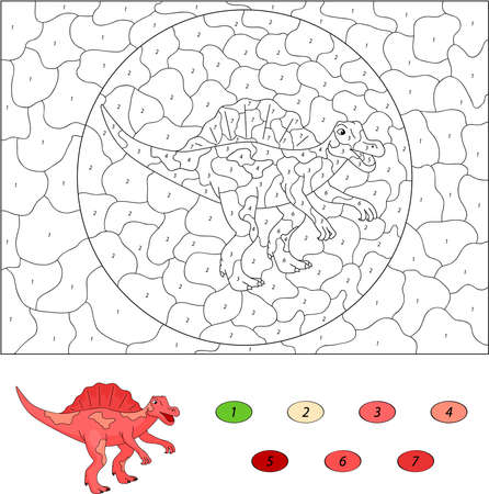 spinosaurus: Color by number educational game for kids. Cartoon Spinosaurus. Vector illustration for schoolchild and preschool