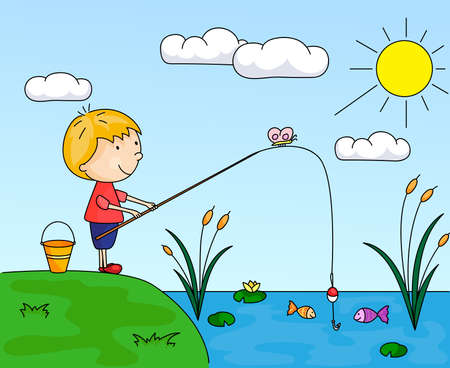 Boy fisherman with fishing rod on the lake. Vector illustration Иллюстрация