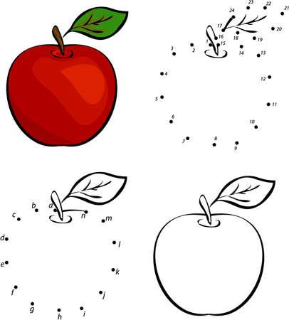 Historieta de la manzana roja. Ilustración del vector. Colorear y punto a punto juego educativo para niños Vectores