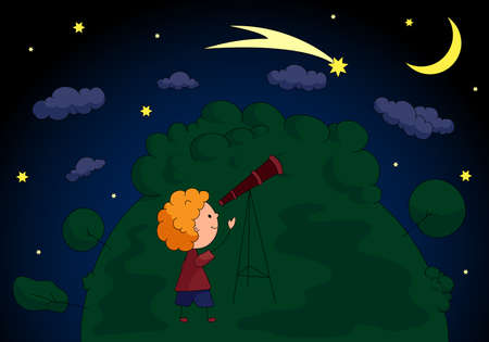 A boy with a telescope looking at the comet in the night sky with stars and moon. Vector illustration Ilustrace