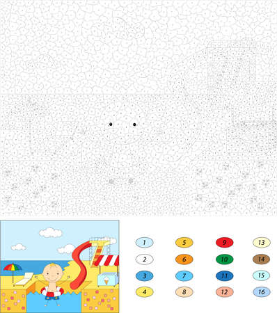 rubber ring: Color by number educational game for kids. Boy with a rubber ring in the water park swimming pool. Vector illustration Illustration