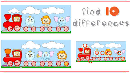 Funny cartoon train with lion, elephant and rhino. Educational game for kids: find ten differences. Vector illustration