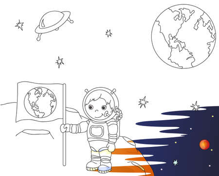 meteor crater: Astronaut with Earth flag on the moon surface in space colorful vector illustration. Coloring book