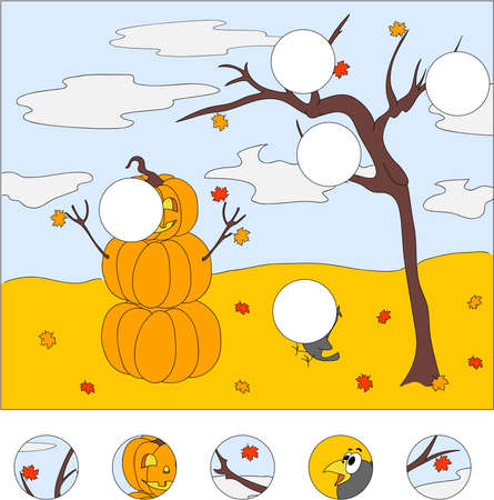 raven: Snowman of pumpkins, autumn tree and surprised raven. Vector illustration. Educational game for kids