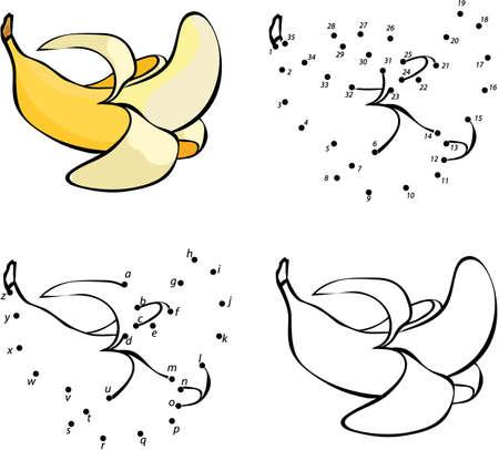 만화 노란 바나나. 벡터 일러스트 레이 션. 색칠 및 점은 아이들을위한 교육 게임을 점하는