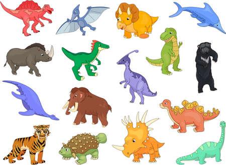 mammal baby: Palaeosaurus, styracosaurus, spinosaurus, ichthyosaur, diplodocus, tyrannosaur, pterodactyl, triceratops, pliosaur, stegosaurus, ankylosaurus, guanlong, mammoth, bear, saber-toothed tiger and rhino. Vector illustration