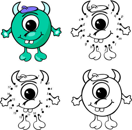 astronautics: Cartoon horned alien. Vector illustration. Coloring and dot to dot educational game for kids