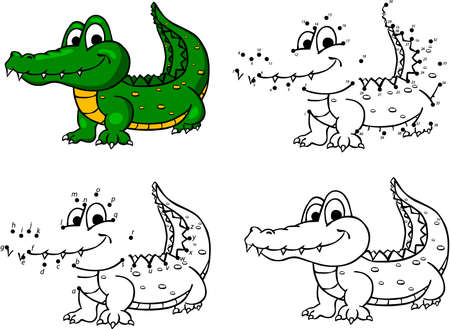Cartoon crocodile. Vector illustration. Coloring and dot to dot educational game for kids Çizim