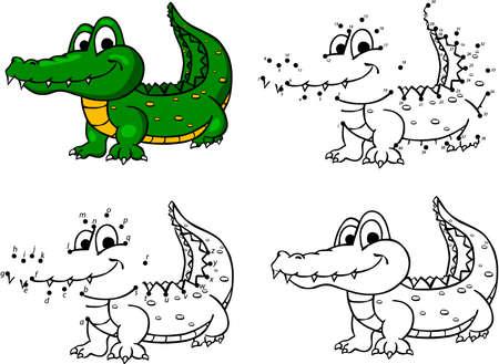 cocodrilo: cocodrilo de dibujos animados. Ilustración del vector. Colorear y punto a punto juego educativo para niños
