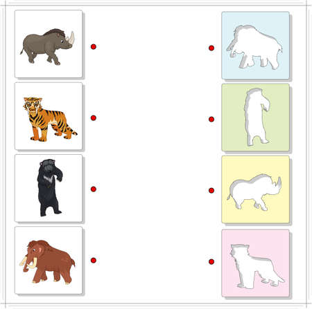 raptorial: Set of mammoth, prehistoric bear, saber-toothed tiger and rhino. Educational game for kids. Choose the correct silhouettes on the opposite side and connect the points
