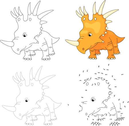 Cartoon styracosaurus. Dot to dot educational game for kids. Vector illustration Ilustração
