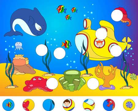 바다 주민 소년과 소녀 잠수함입니다. 낙지, 해파리, 불가사리, 바다 말, 산호초, 게, 새우, 광선, 물고기 낚시꾼 및 바다에서 산호. 수 중 세계에 대 한  일러스트