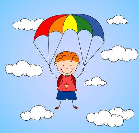 parachutist: Boy parachutist descends from the sky on a parachute through the clouds. Vector illustration