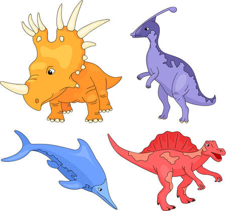 mesozoic: Set of diplodocus, tyrannosaur, pterodactyl and triceratops. Vector illustration Illustration