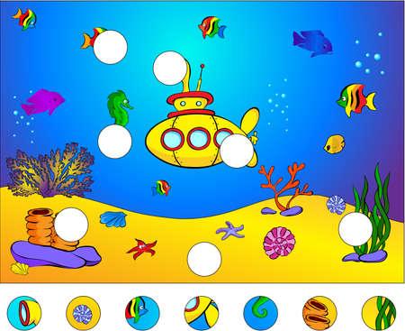 Onderwaterwereld en onderzeeër: maak de puzzel en vind de ontbrekende delen van het beeld. Vector illustratie. Educatief spel voor kinderen