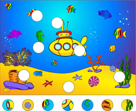 Underwater world and submarine: complete the puzzle and find the missing parts of the picture. Vector illustration. Educational game for kids Illustration
