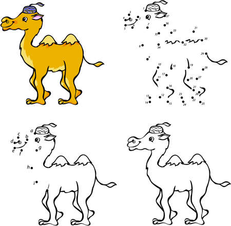 Cartoon camel. Vector illustration. Coloring and dot to dot educational game for kids