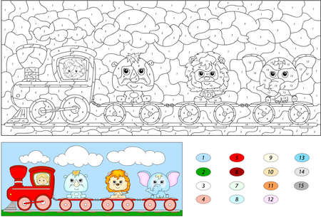 play of color: Color by number educational game for kids. Funny cartoon train with lion, elephant and rhino. Vector illustration for schoolchild and preschool Illustration