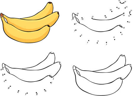 banana illustration: Three cartoon yellow bananas. Vector illustration. Coloring and dot to dot educational game for kids