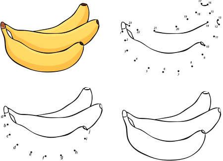 platano caricatura: Tres dibujos animados plátanos amarillos. Ilustración del vector. Colorear y punto a punto juego educativo para niños