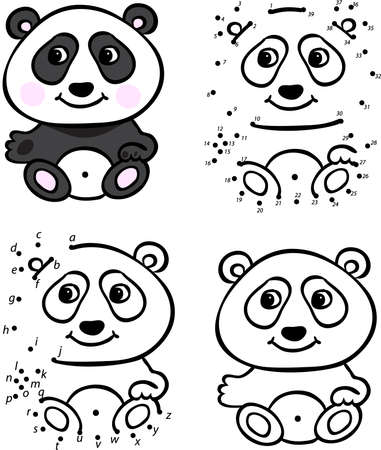 Cartoon panda. Vector illustration. Coloring and dot to dot educational game for kids