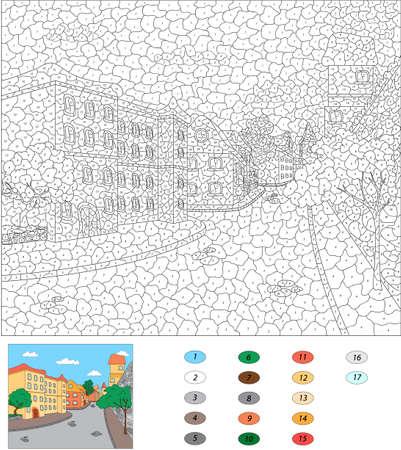 아이들을위한 숫자 교육 게임으로 색상. 오래 된 마 거리입니다. 벡터 일러스트 레이 션 일러스트