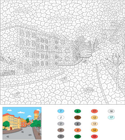 Color by number educational game for kids. Old town streets. Vector illustration