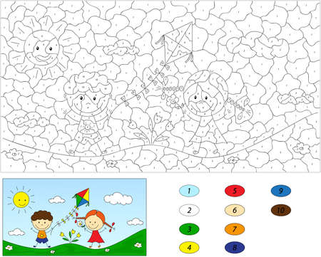 Color by number educational game for kids. A boy and a girl playing in the meadow and launching a kite. Vector illustration