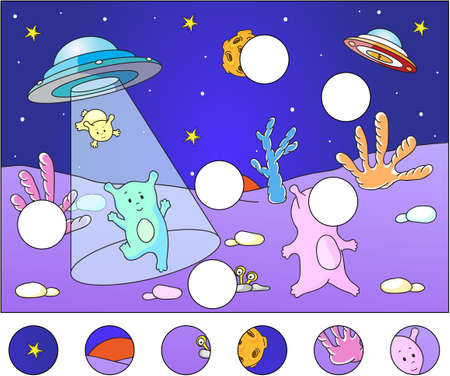 activities: Cute aliens landing on the planets surface: complete the puzzle and find the missing parts of the picture. Vector illustration. Educational game for kids Illustration