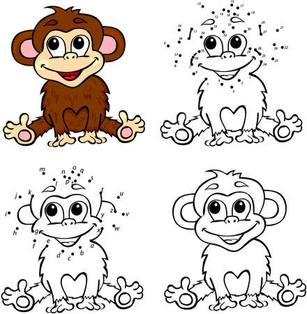 Cartoon monkey. Vector illustration. Coloring and dot to dot educational game for kids Çizim