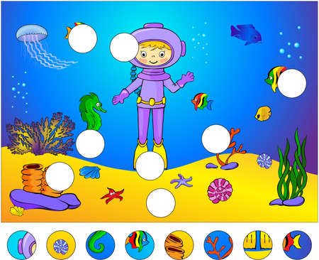 diver: Underwater world and marine life: complete the puzzle and find the missing parts of the picture. Vector illustration. Educational game for kids Illustration