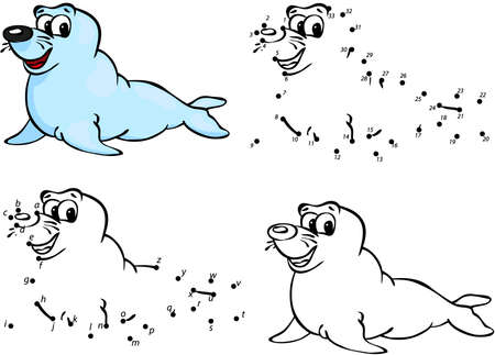 Cartoon seal. Vector illustration. Coloring and dot to dot educational game for kids 矢量图像